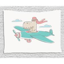 Kids Girls Tapestry Dinosaur Flying A Plane In Sky Cool Hipster Funny Boys Graphic Wall Hanging For Bedroom Living Room Dorm Decor 60w X 40l Inches Turquoise Eggshell Coral By Ambesonne