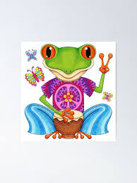 Peace Frog Colorful Hippie Frog Art By Thaneeya Mcardle Poster By Thaneeya Redbubble
