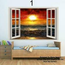 Rock Cottage To Soldiers Bay 3d Window View Decal Wall Sticker Art Mural Palm Teknesya Com