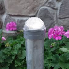 Classy Caps Summit Solar Lighting Post Caps For Round Chain Link Fence Posts Silver Hoover Fence Co