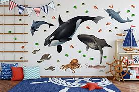 Amazon Com Ocean Mural For Kids Rooms Large Sea Wall Mural Decals Of Ocean Animals Home Kitchen