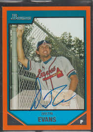 Amazon.com: 2007 Bowman Dustin Evans Braves 62/250 Autographed Baseball  Card #BP122: Collectibles & Fine Art