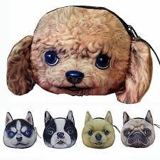 dog face wallet coin purse zipper case