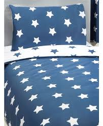 navy blue and white stars single duvet