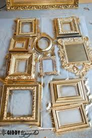 vintage frames spray painted white for