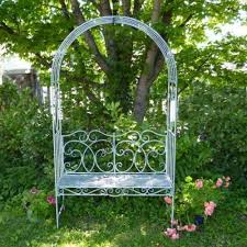 metal garden bench seat with arch