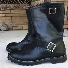 demonia shoes mens leather biker