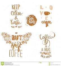 set of vintage coffee quote labels coffee quote logo templates