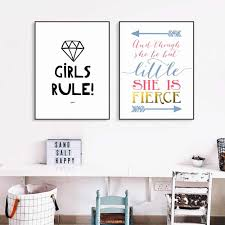 Fierce Girls Rule Nursery Canvas Art Print Painting Poster Wall Pictures For Kids Room Home Decorative Wall Decor No Frame Wall Pictures Pictures For Kidspictures For Kids Room Aliexpress