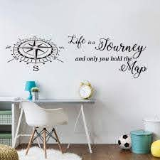 Amazon Com Wall Art Decor Decals Removable Mural Life Is A Journey Travel Compass Map Quote Wall Decal Bedroom Classroom Travel Compass Words Wall Sticker Vinyl Home Kitchen