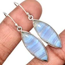 blue lace agate earrings sterling