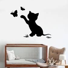 Vinyl Wall Decal Cat Kitten Butterfly Nursery Child Room Stickers Unique Gift Ig3912 With Images Room Stickers Vinyl Wall Decals Nursery Wall Decals Girl