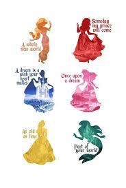 disney princesses silhouettes their songs their castles