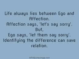 ego and affection life sms quotes image