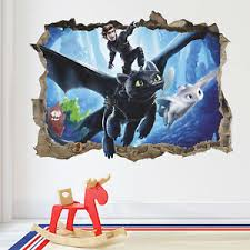 How To Train Your Dragon 3d Wall Decal Toothless Light Fury Hiccup Sticker Ebay