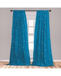 New Deals On Ambesonne Blue Window Curtains Bold Polka Dots In Blue And White Colors Fun Retro Style Kids Design Lightweight Decorative Panels Set Of 2 With Rod