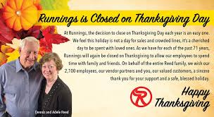 Runnings Stores - Happy Thanksgiving from Dennis and Adele... | Facebook