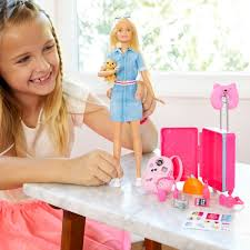 barbie doll travel set puppy and