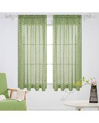 Amazing Savings On Deconovo Rod Pocket Sheer Curtains Ocean Wave Print Voile Faux Linen Window Curtians For Kids Room 52x63 Inch Green