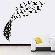 Amazon Com Diy Flying Birds Art Wall Stickers Vinyl Removable Decals Mural Home Room Decor 100cmx58cm Black Arts Crafts Sewing