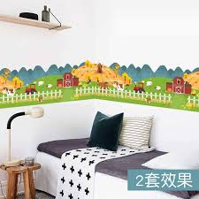 Happy Farm Animal House Fence Wall Sticker For Kids Rooms Wallpaper Decals Children Gift Poster Home Decor Decal Mural Sticker For Kids Room Wall Stickers For Kidswall Sticker Aliexpress