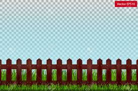 Wooden Fence And Green Grass On A Transparent Background Vector Royalty Free Cliparts Vectors And Stock Illustration Image 102564628