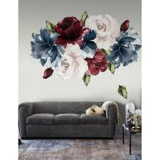 Shop Dark Blue Peony Red And Pink Rose Floral Wall Decal On Sale Overstock 30920382
