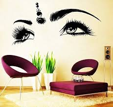 Amazon Com Eyelashes Decal Eyelashes Eye Wall Decal Eyelashes Eye Wall Sticker Girls Eyes Eyebrows Wall Decor Beauty Salon Decal Make Up Wall Decor Kau394 Handmade