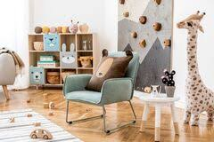 Cute Mint Armchair In A Child Play Room Stock Photo Image Of Kids Cute 176563248