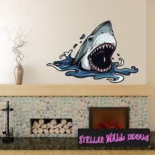 Shark Wall Decal Wall Fabric Repositionable Decal Vinyl Car Sticker Usc006