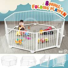 Baby White Natural Wooden Playpen 8 Sides For Sale Online Ebay