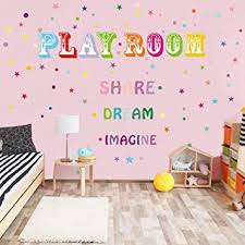 Amazon Com Colorful Inspirational Lettering Quote Wall Decals Rainbow Playroom Share Dream Imagine Wall Stickers Motivational Phrases Vinyl Stickers For Kids Children Boys Nursery Bedroom Playroom Decor Baby