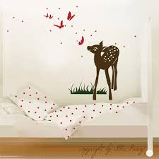 Wall Decal Little Deer Fawn With Butterflies And Stars M413 Wall Decals Bumper Sticker Murals Bags Cups Backpacks And Many More At Www Deinewandkunst Com