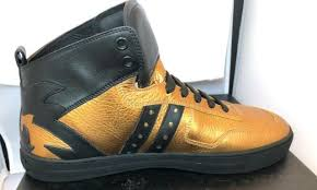versace mens gold leather high top