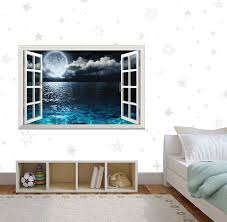 Snow Forest Trees Full Moon 3d Window Decal Wall Sticker Decor Art Mural J1084 Home Garden Decor Decals Stickers Vinyl Art