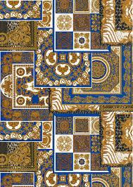 versace blue découpage print wallpaper
