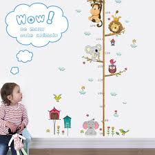 Cute Cartoon Elephant Lion Zoo Child Height Measuring Wall Sticker Decoration Bedroom Home Wallpaper Sticker Kids Room Decor Wall Stickers Aliexpress
