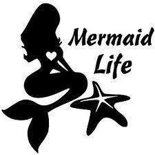 Amazon Com Yws Vinyl Sticker Decal Mermaid Life Starfish Sticker Laptop Car Truck Window Bumper Notebook Vinyl Decal Sma6687 Home Kitchen