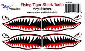 30 In Flying Tigers Shark Teeth Vinyl Decal Stickers V2 P 40 Warhawk 1 Pair