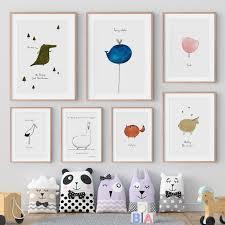 Funny Animal Cartoon Nursery Kids Bedroom Wall Decoration Canvas Art Tiptophomedecor