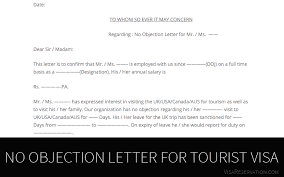 no objection letter for tourist visa
