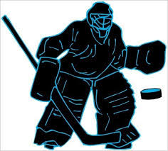 Amazon Com Hockey Goalie Wall Decals Hockey Wall Stickers In Black With Blue Home Kitchen