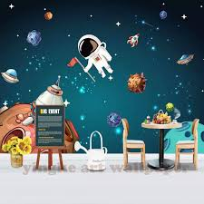 Custom 3d Children Wallpaper Hand Painting Space Cosmos Wallpaper For Kids Room Background Wall Decor Wallpapers Aliexpress