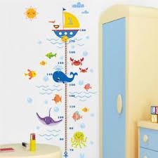 Kids Room Growth Chart Childrens Bedroom Decals Bathroom Sea Decorations Nursery Ebay