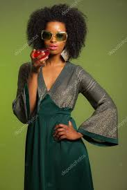 retro 70s afro fashion woman