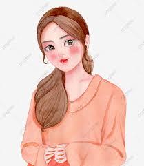 بنات ألوان مائية مرسومة باليد وين وي شعر طويل وين وي فتاة Png