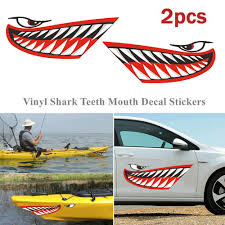 2pcs Vinyl Shark Teeth Mouth Funny Sticker Decal Car Boat Dinghy Kayak Decor Buy At A Low Prices On Joom E Commerce Platform
