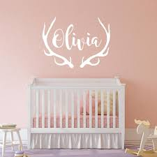 Personalized Antlers Name Wall Decal Choose Font And Color Etsy