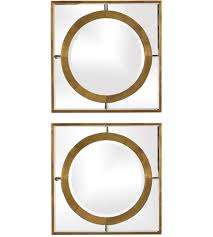 inch antique gold wall mirrors set
