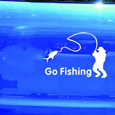 2x Car Stickers White Go Fishing Sticker Reflective Tape Waterproof Car Decals Fashion Trench Wish